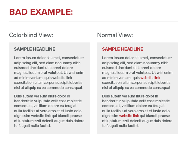 Comparison between colorblind and normal view with links not underlined and being indistinguishable from surrounding content.