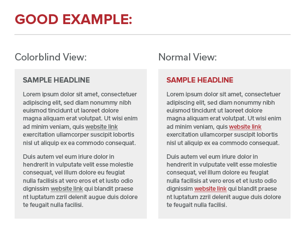 Comparison between colorblind and normal view with links underlined and easily distinguishable from surrounding content.